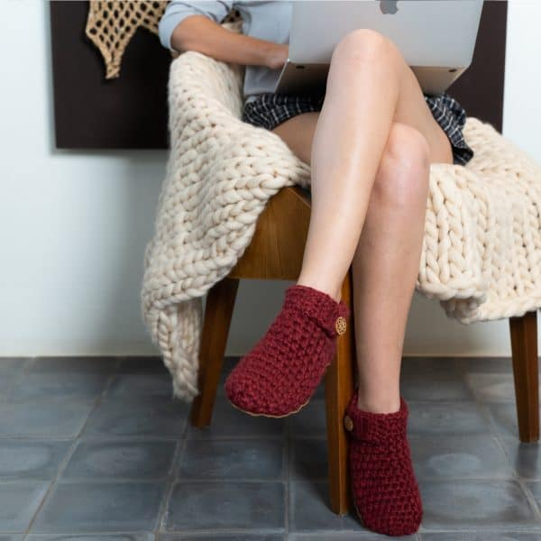 Wine_Lop Top Wool Slippers for Men & Women