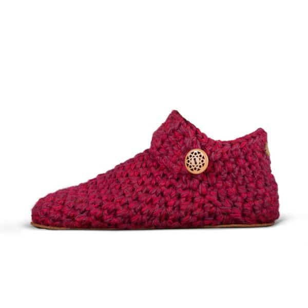 Wine Red Wool Slippers Low Top